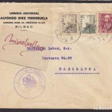 Sellos: CENSURA MILITAR BILBAO ( VIZCAYA) AÑO 1939 SOBRE COMERCIAL LIBRERÍA ALFONSO DIEZ FERRERUELA . Lote 105950539