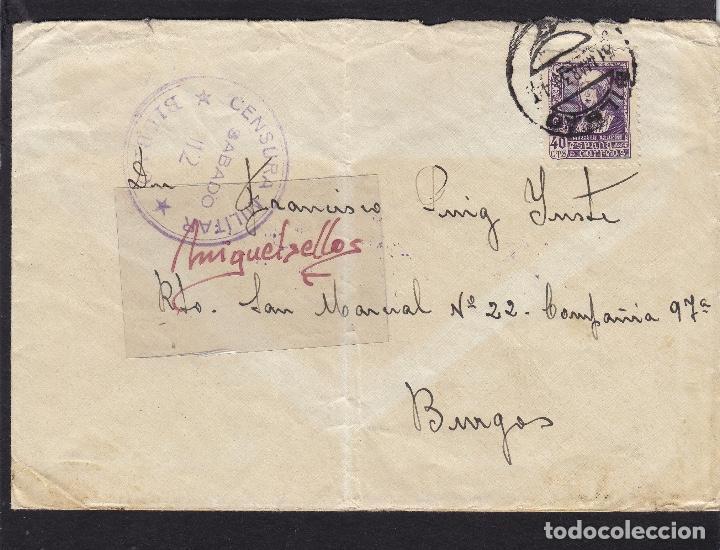 CENSURA MILITAR BILBAO ( VIZCAYA) AÑO 1939 SOBRE CON NOTA CENSURA DORSO FRANQUEO ISABEL (Sellos - España - Estado Español - De 1.936 a 1.949 - Cartas)