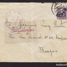 Sellos: CENSURA MILITAR BILBAO ( VIZCAYA) AÑO 1939 SOBRE CON NOTA CENSURA DORSO FRANQUEO ISABEL. Lote 105950571