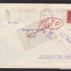 Sellos: CENSURA MILITAR BURGOS AÑO 1938 SOBRE DESTINO POZALDEZ ( VALLADOLID) DORSO LLEGADA MAT RODILLO . Lote 105950743