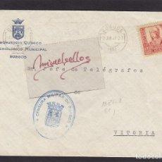 Selos: CENSURA MILITAR BURGOS AÑO 1937 SOBRE MEMBRETE LABORATORIO MUNICIPAL MAT RODILLO . Lote 105950815