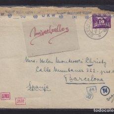Sellos: CENSURA BARCELONA Y NAZI -SOBRE DE HOLANDA DESTINO ESPAÑA MAT TRÁNSITO DORSO Y CENSURA. Lote 105951031