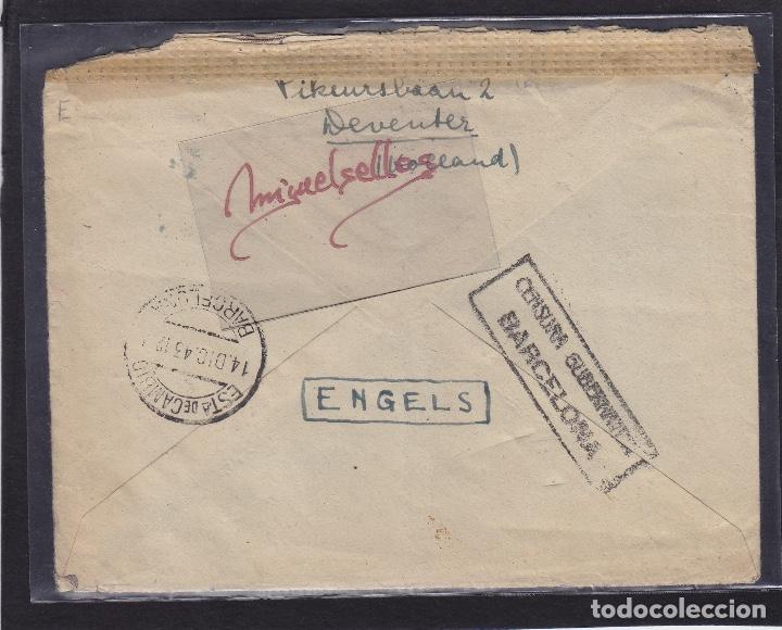 Sellos: CENSURA BARCELONA Y NAZI -Sobre de HOLANDA destino ESPAÑA mat TRÁNSITO dorso y censura - Foto 2 - 105951031