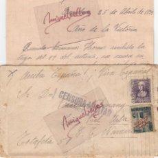 Sellos: CENSURA BARCELONA AÑO 1939 - CARTA CON ESCRITO FRANQUEO ISABEL Y AYUNTAMIENTO BARCELONA. Lote 105951099