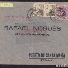 Sellos: CENSURA CHICLANA ( CÁDIZ) AÑO 1937-SOBRE COMERCIAL RAFAEL NOGUÉS FRQ CID Y LOCAL DIPUTACIÓN ENVASES. Lote 105978823