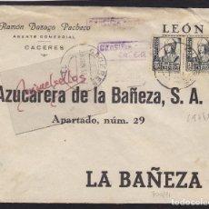 Sellos: CENSURA CÁCERES AÑO 1937-SOBRE COMERCIAL DEST AZUCARERA LA BAÑEZA ( LEÓN) DORSO LLEGADA . Lote 105979071