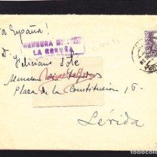 Sellos: CENSURA MILITAR LA CORUÑA AÑO 1939 - SOBRE RMTE SPORTING CLUB LA CORUÑA. FRANQUEO ISABEL . Lote 105981155