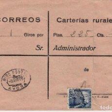 Sellos: SOBRE DE CARTERIAS RURALES SELLO DE GIRO POSTAL DE AYORA -VALENCIA- 1949. Lote 106092179