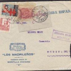 Sellos: CENSURA MONTILLA (CÓRDOBA) AÑO 1937-¡¡ FRONTAL DE CARTA ¡¡MEMB LOS MADRILEÑOS FQ 840 TUBERCULOSOS . Lote 106580939