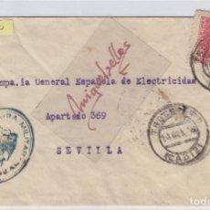 Sellos: CENSURA PUERTO REAL ( CÁDIZ) AÑO 1938 CARTA ORIGEN ISLA DE TROCADERO DEST SEVILLA MAT TRANSITO DORSO. Lote 106604831
