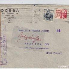 Sellos: CENSURA REPÚBLICA ESPAÑOLA AÑO 1938 CARTA CORREO AÉREO BARCELONA DESTINO FRANCIA CON LLEGADA. Lote 106604983