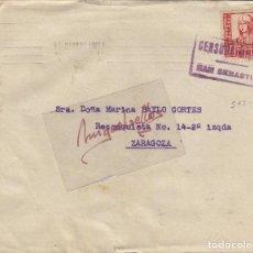 Sellos: CENSURA SAN SEBASTIÁN ( GUIPUZCOA) AÑO 1937 CARTA MATASELLOS RODILLO CON LLEGADA . Lote 106651095