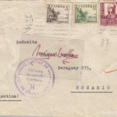 Sellos: CENSURA SAN SEBASTIÁN ( GUIPUZCOA) AÑO 1938 CARTA CON DESTINO ARGENTINA LLEGADA DORSO . Lote 106651491