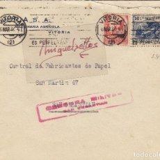 Sellos: CENSURA SAN SEBASTIÁN ( GUIPUZCOA) AÑO 1937 CARTA ORIGEN RODILLO VITORIA FRANQUEO BENÉFICO . Lote 106655127