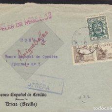 Sellos: CENSURA UTRERA ( SEVILLA) AÑO 1937 ¡¡FRONTAL DE CARTA ¡¡MEMB BANCO CRÉDITO FRANQUEO BENÉFICO Y CID. Lote 106770847