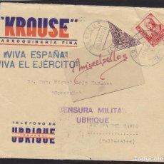 Sellos: CENSURA UBRIQUE ( SEVILLA) AÑO 1937 ¡¡FRONTAL DE CARTA ¡¡ MEMB KRAUSE FRANQUEO SELLO BISECTADO . Lote 106771503