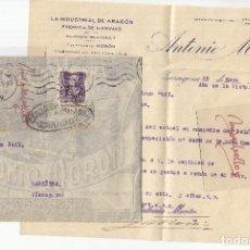 Sellos: CENSURA ZARAGOZA AÑO 193?¿ CARTA MEMB ANTONIO MORON , LA INDUSTRIAL DE ARAGON , HARINAS. Lote 243360430