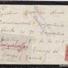 Sellos: CENSURA MILITAR CARBALLINO (ORENSE) AÑO 193¿?- CARTA DEST REGIMIENTO INFANTERIA DE TORRIJO . Lote 106951663