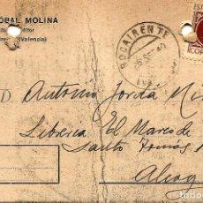 Sellos: TARJETA CIRCULADA CRISTÓBAL MOLINA DE BOCAIRENTE (VALENCIA) A ALCOY (ALICANTE) - IMPRESO AMBAS CARAS. Lote 107005123