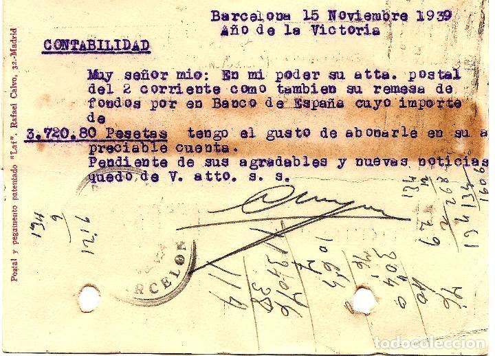 Sellos: TARJETA CIRCULADA CLAUDIO HOYOS DE BARCELONA A ALCOY (ALICANTE) - SELLO AYUNT. BARCELONA AÑO 1940 - Foto 2 - 107007903