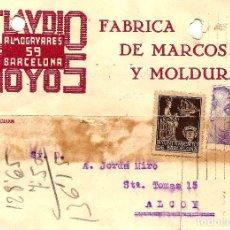 Sellos: TARJETA CIRCULADA CLAUDIO HOYOS DE BARCELONA A ALCOY (ALICANTE) - SELLO AYUNT. BARCELONA AÑO 1940. Lote 107007955