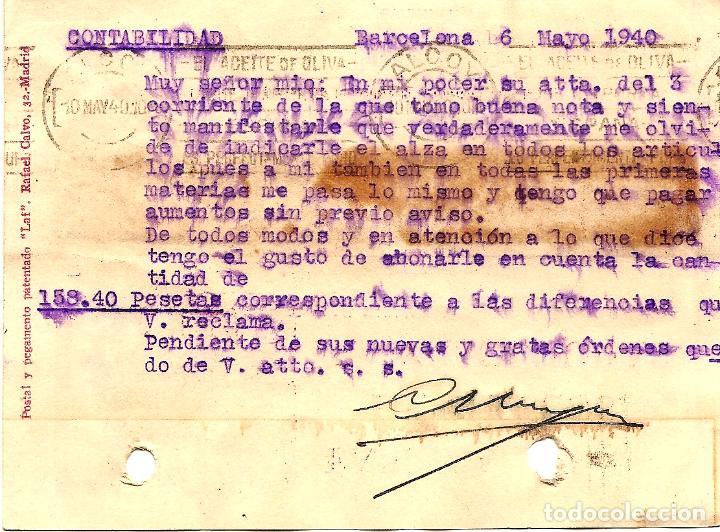 Sellos: TARJETA CIRCULADA CLAUDIO HOYOS DE BARCELONA A ALCOY (ALICANTE) - SELLO AYUNT. BARCELONA AÑO 1940 - Foto 2 - 107007955