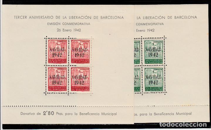 3 HB NUEVAS DE BARCELONA 1942 NUMS. 40-41 TERCER ANIVERSARIO LIBERACIÓN DE BARCELONA (Sellos - España - Estado Español - De 1.936 a 1.949 - Nuevos)