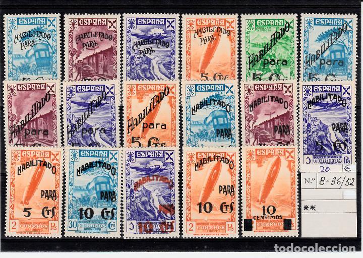 1940 BENEFICENCIA.-HISTORIA DEL CORREO CON HABILITACIÓN NUMS. B36-52 NUEVOS CON FIJASELLOS (Sellos - España - Estado Español - De 1.936 a 1.949 - Nuevos)