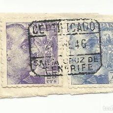 Sellos: LOTE DE DOS SELLOS FRANCO CON MATASELLO SANTA CRUZ DE TENERIFE - CANARIAS . Lote 107383287