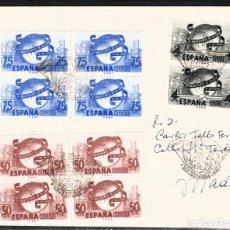 Sellos: 1949 CARTA CON MATASELLOS PRIMER DIA -ANIVERSARIO UPU NUMS 1063 A 1065. Lote 107838583