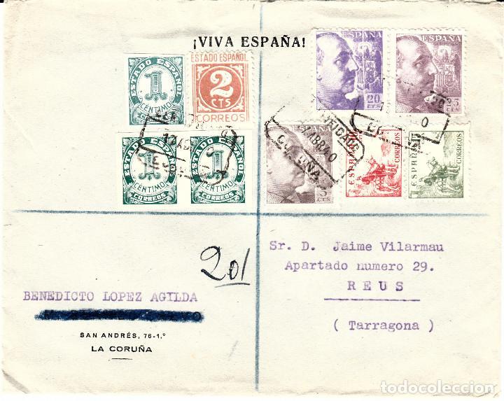 CARTA DE BENEDICTO LOPEZ AGILDA EN LA CORUÑA-INDICACIÓN VIVA ESPAÑA- CERTIFICADO ENCIMA DE LOS SELLO (Sellos - España - Estado Español - De 1.936 a 1.949 - Cartas)