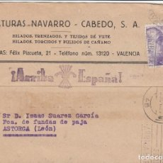 Sellos: CARTA: 1940 VALENCIA - ASTORGA. HILATURAS NAVARRO CABEDO S.A.. Lote 109149531