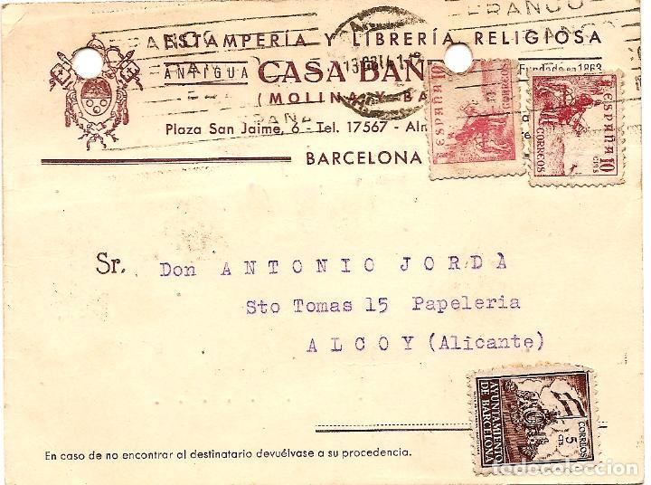TARJETA POSTAL CASA BAÑERES, ESTAMPERÍA Y LIBRERÍA - BARCELONA - CIRCULADA 1942 - AYUNT. BARCELONA (Sellos - España - Estado Español - De 1.936 a 1.949 - Cartas)