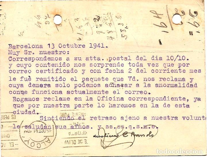 Sellos: TARJETA POSTAL CASA BAÑERES, ESTAMPERÍA Y LIBRERÍA - BARCELONA - CIRCULADA 1942 - AYUNT. BARCELONA - Foto 2 - 109367611
