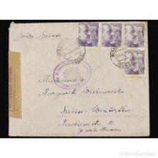 Sellos: CAMPO DE CONCENTRACIÓN DE MIRANDA DE EBRO, SOBRE DE UN PRISIONERO POLACO A SUÍZA, 1943. Lote 109708379