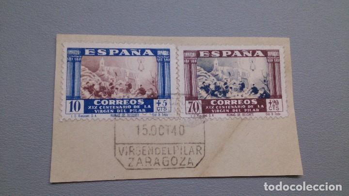 1940 - EDIFIL 889 Y 895 - SOBRE FRAGMENTO - EXCELENTE MATASELLOS - 15.OCT 1940 - VIRGEN DEL PILAR. (Sellos - España - Estado Español - De 1.936 a 1.949 - Usados)