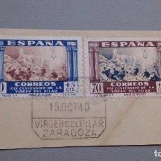 Sellos: 1940 - EDIFIL 889 Y 895 - SOBRE FRAGMENTO - EXCELENTE MATASELLOS - 15.OCT 1940 - VIRGEN DEL PILAR.. Lote 110114047