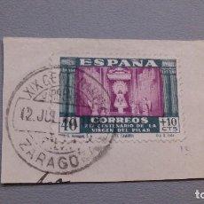 Sellos: 1940 - EDIFIL 893 - SOBRE FRAGMENTO - EXCELENTE MATASELLOS -12 JILIO 1940 - VIRGEN DEL PILAR.. Lote 110114563