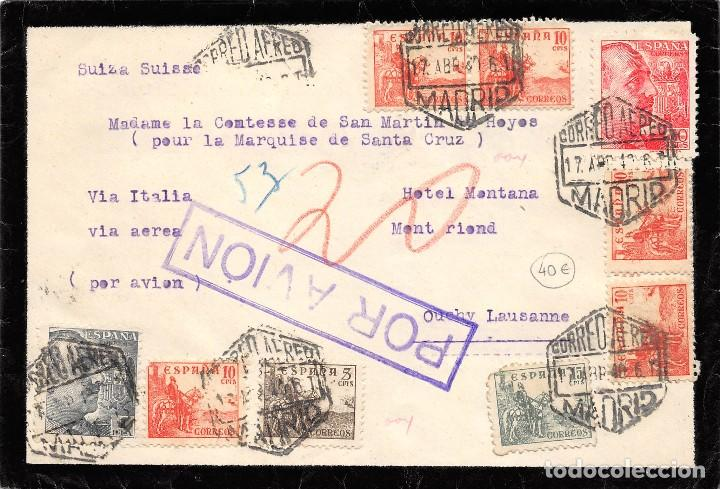 ESPAÑA Nº 914 +916 X5+ 918+ 873+ 930. AÑO 1940. CARTA DE MADRID A SUIZA (Sellos - España - Estado Español - De 1.936 a 1.949 - Cartas)