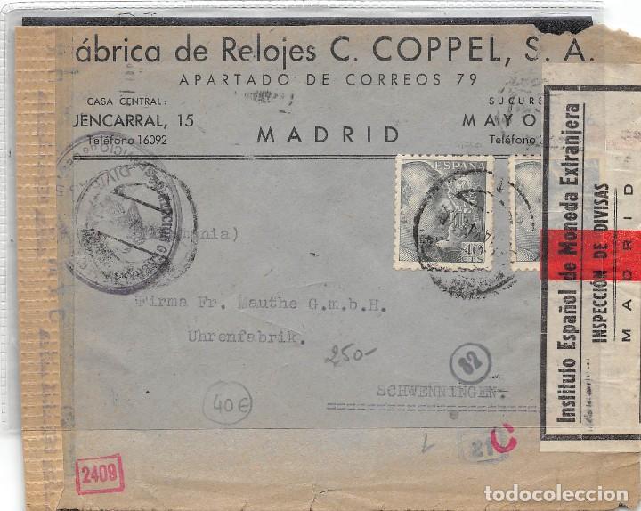 Nº 925 X2. CARTA DE MADRID A ALEMANIA. VARIAS MARCAS DE CARTEROS Y CENSURA ALEMANA Y ESPAÑOLA. TAMPÓ (Sellos - España - Estado Español - De 1.936 a 1.949 - Cartas)