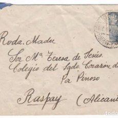 Sellos: SOBRE O CARTA CIRCULADA EN 1948 DE MADRID A PINOSO. RASPAY. ALICANTE. SELLO FRANCO 50 CÉNTIMOS. . Lote 111420655