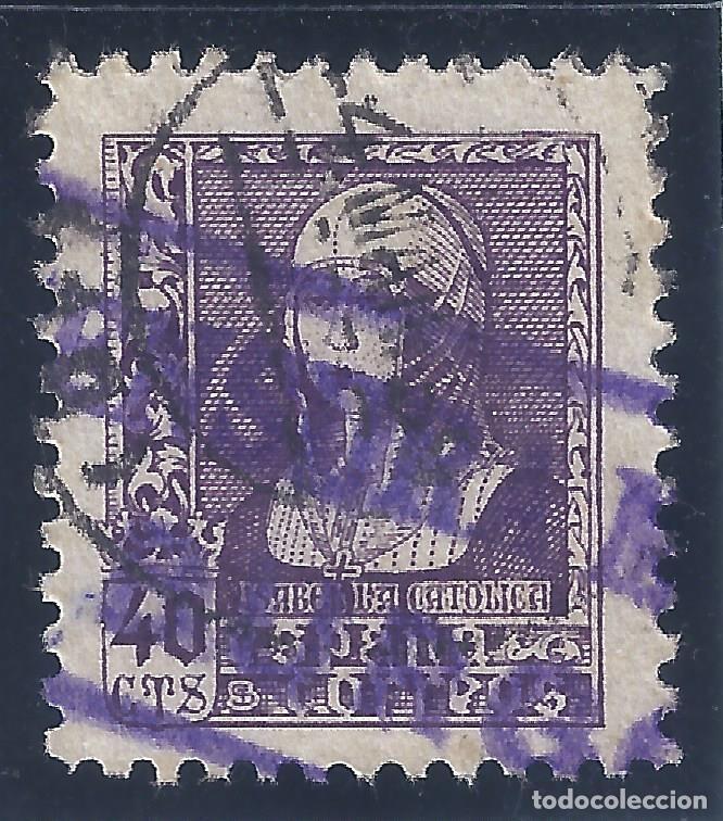 EDIFIL 858 ISABEL LA CATÓLICA 1938 (VARIEDAD..DOBLE MATASELLOS. FECHADOR Y CENSURA MILITAR BURGOS) . (Sellos - España - Estado Español - De 1.936 a 1.949 - Usados)