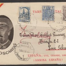 Sellos: T POSTAL PATRIÓTICA CNEL MOSCARDÓ ED MARRA SELLOS ESPECIAL MÓVIL MAT AMBULANTE MÉRIDA- SEVILLA 1937. Lote 113704419