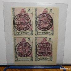 Sellos: LOTE DE CUATRO SELLOS MATADOS - SIN VALOR POSTAL - ZARAGOZA 1945.. Lote 113954171