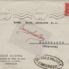 Sellos: SOBRE DE CARTA CENSURA MILITAR ZARAGOZA 1938 MEMB JOSÉ ALSINA DEST MONDRAGÓN . . Lote 115240851