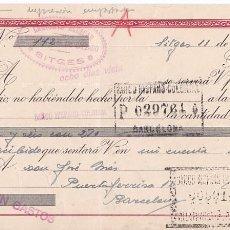 Sellos: AP5-FISCALES LETRA 1943 CALZADOS. SITGES . INTERESANTE FRANQUEO COMPLEMENTARIO . Lote 115330715