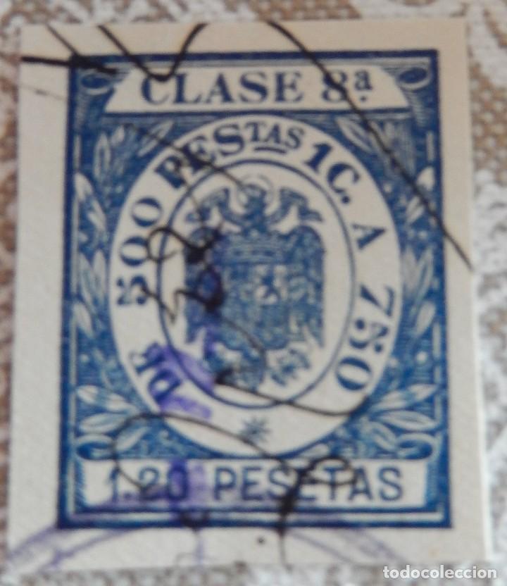 SELLO/TIMBRE. FISCAL DE CLASE 8. 1,20 PTAS. (Sellos - España - Estado Español - De 1.936 a 1.949 - Usados)