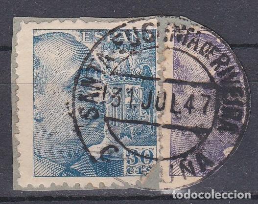 CORUÑA.- SELLO DE FRANCO CON MATASELLO SANTA EUGENIA DE RIVEIRA (Sellos - España - Estado Español - De 1.936 a 1.949 - Usados)
