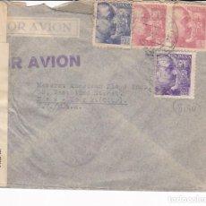 Sellos: F21-76- CARTA BILBAO- NUEVA YORK 1941. FAJA CIERRE CENSURA. Lote 118156055