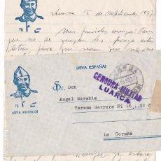 Sellos: CM2-67-CARTA LUARCA (OVIEDO)- LA CORUÑA 1937. MARCA FARMACIA MILITAR Y CENSURA NO CATALOGADA?. Lote 118452479